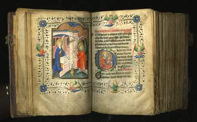 LES ENLUMINURES Miniature Annunciation 2.Book of Hours (Use of Windesheim) BOH 85 -BOH 85 - ff20v-21 Master Otto van Moerdrecht susan@susanpr.jpg